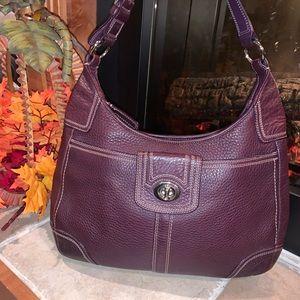 Vintage coach leather purple shoulder purse